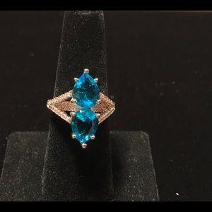 Two Teardrop Cut Aquamarine 925 Silver Ring Size 7